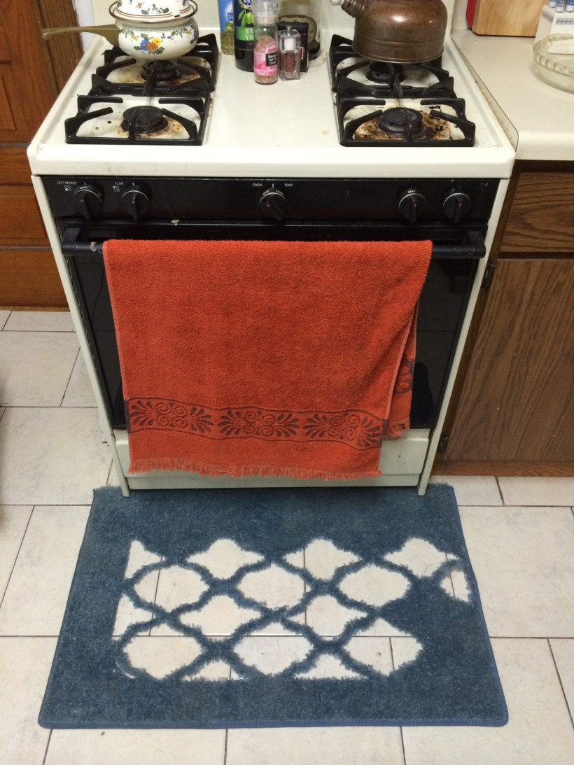 Stove in a kitchen with a red towel hanged on the handle and a rug undernethe